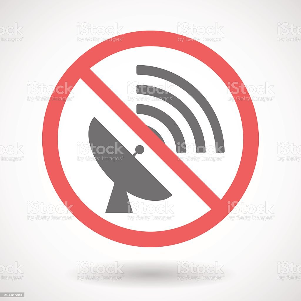 Forbidden signal with a satellite dish vector art illustration