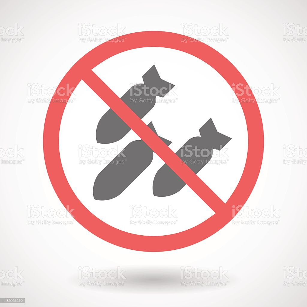 Forbidden signal with bombs vector art illustration