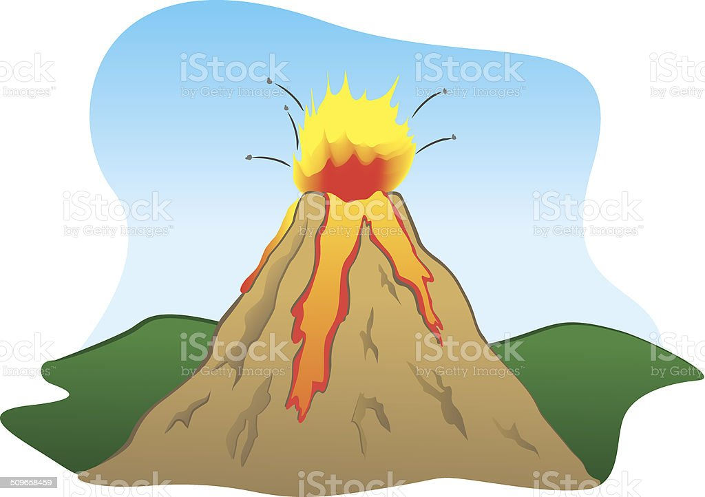Force Of Nature A Volcano Erupting stock vector art 509658459 | iStock