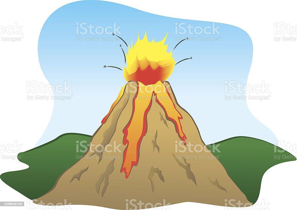 Force of Nature a volcano erupting vector art illustration
