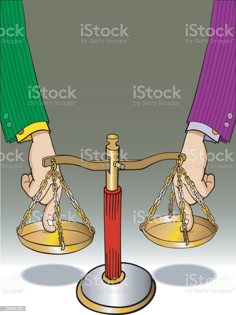 Forcing Justice's balance royalty-free stock vector art