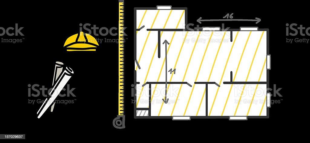foreman measuring a plan royalty-free stock vector art
