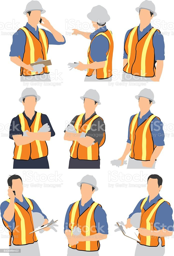 Foremen in various actions vector art illustration