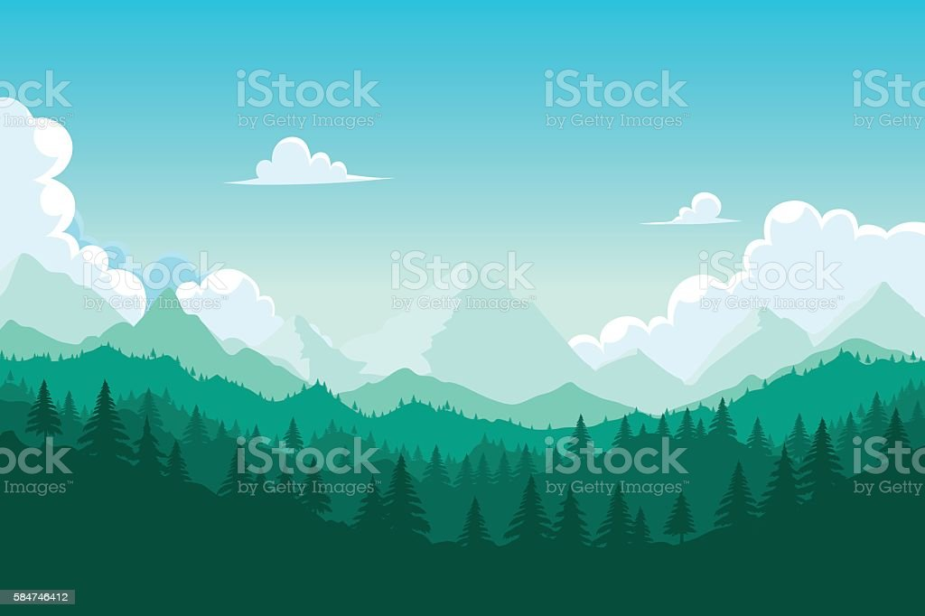 Forest and mount royalty-free stock vector art