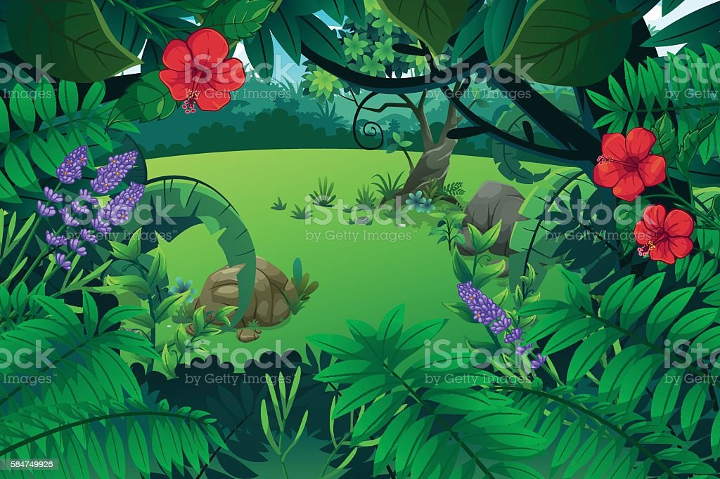 Forest and mount vector art illustration