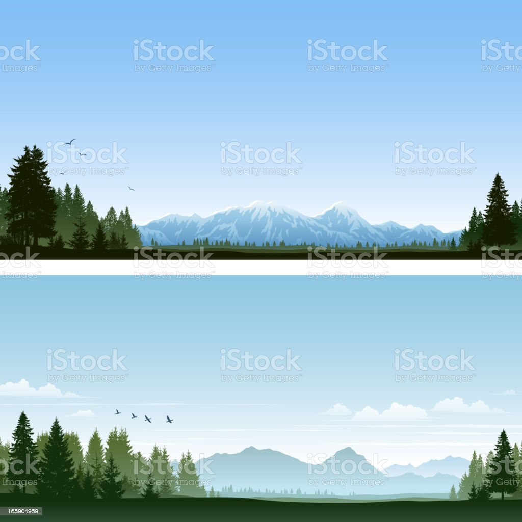 Forest and Mountains vector art illustration