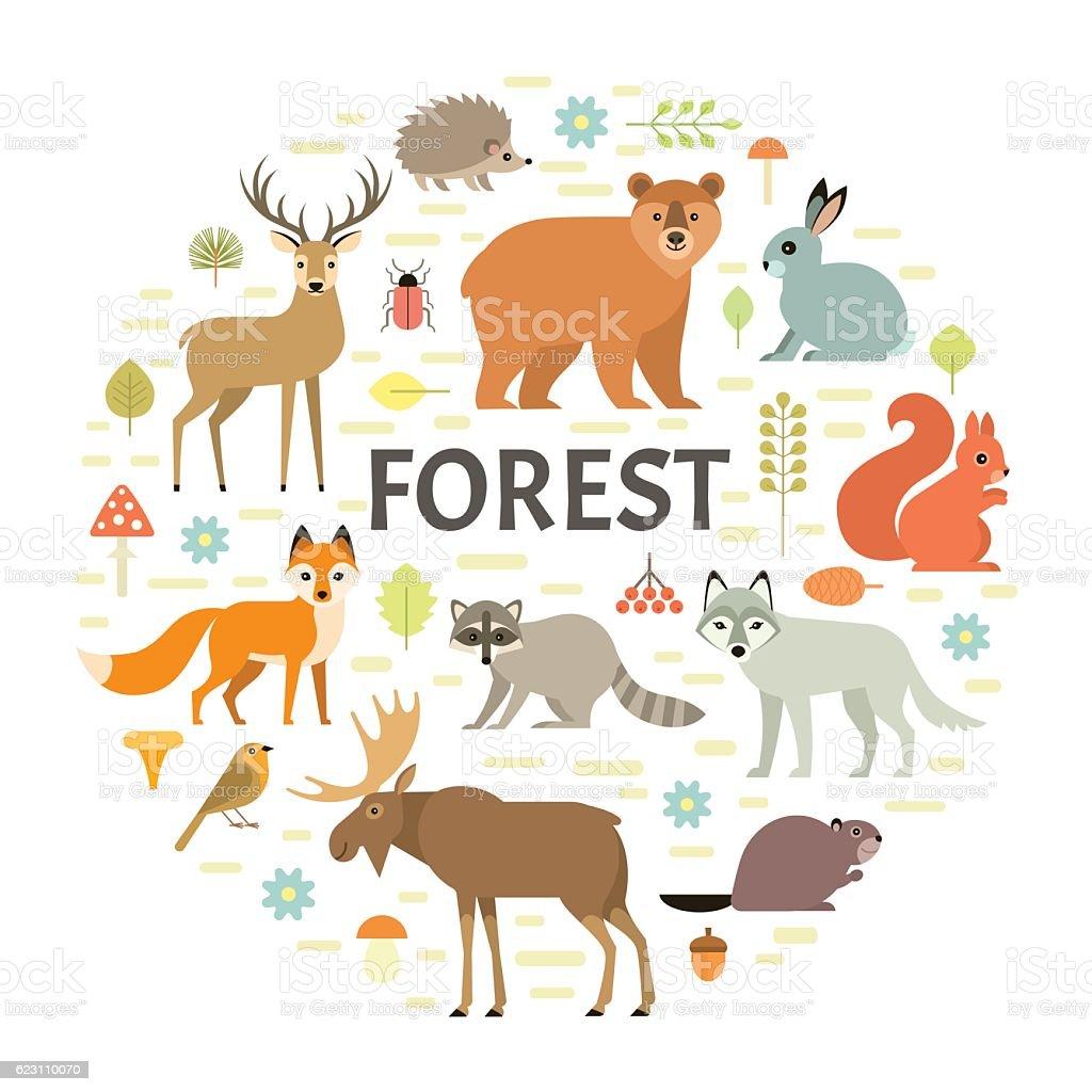 Forest animals background vector art illustration