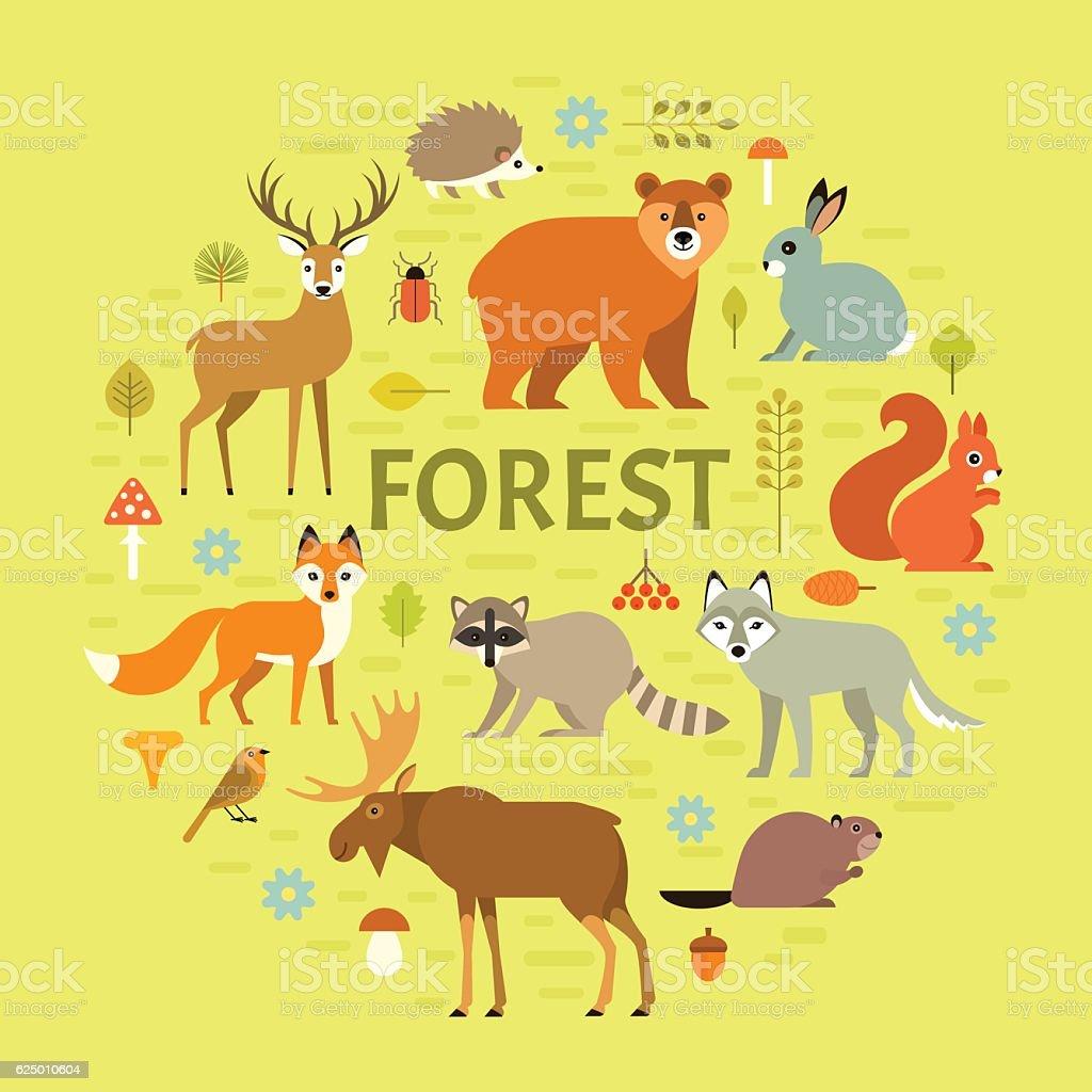 Forest animals poster vector art illustration