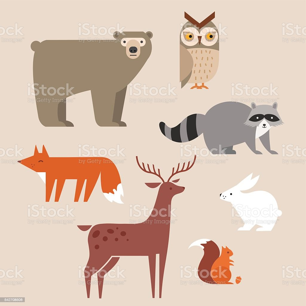 Cute forest animals vector set include bear, owl, fox, raccoon, deer,...