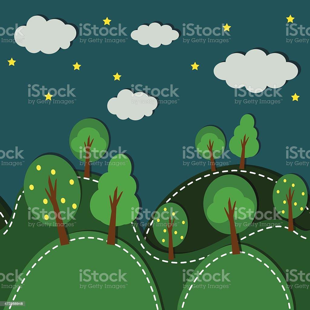 Forest At Night seamless vector art illustration