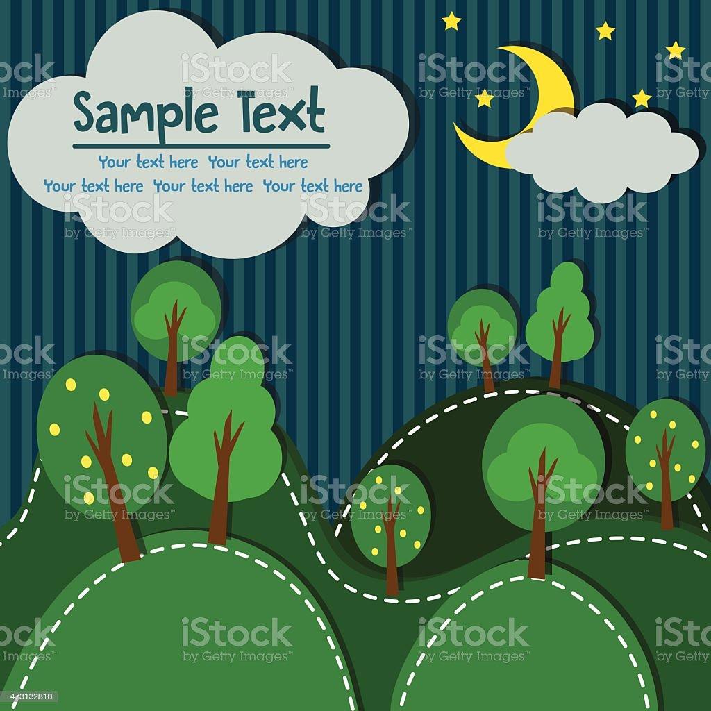 Forest At Night vector art illustration