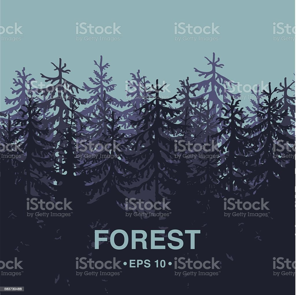 Forest background square composition vector art illustration