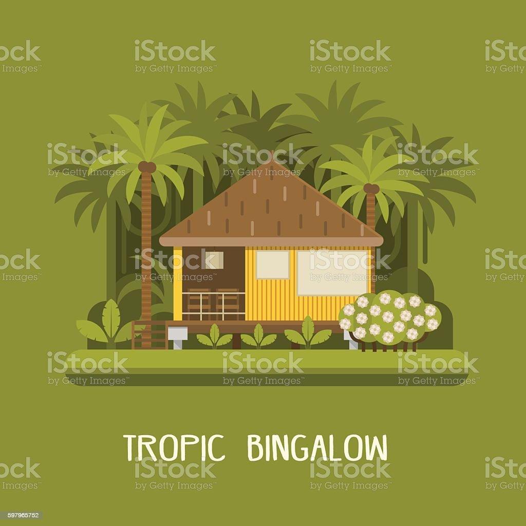 Forest Bungalow Background vector art illustration
