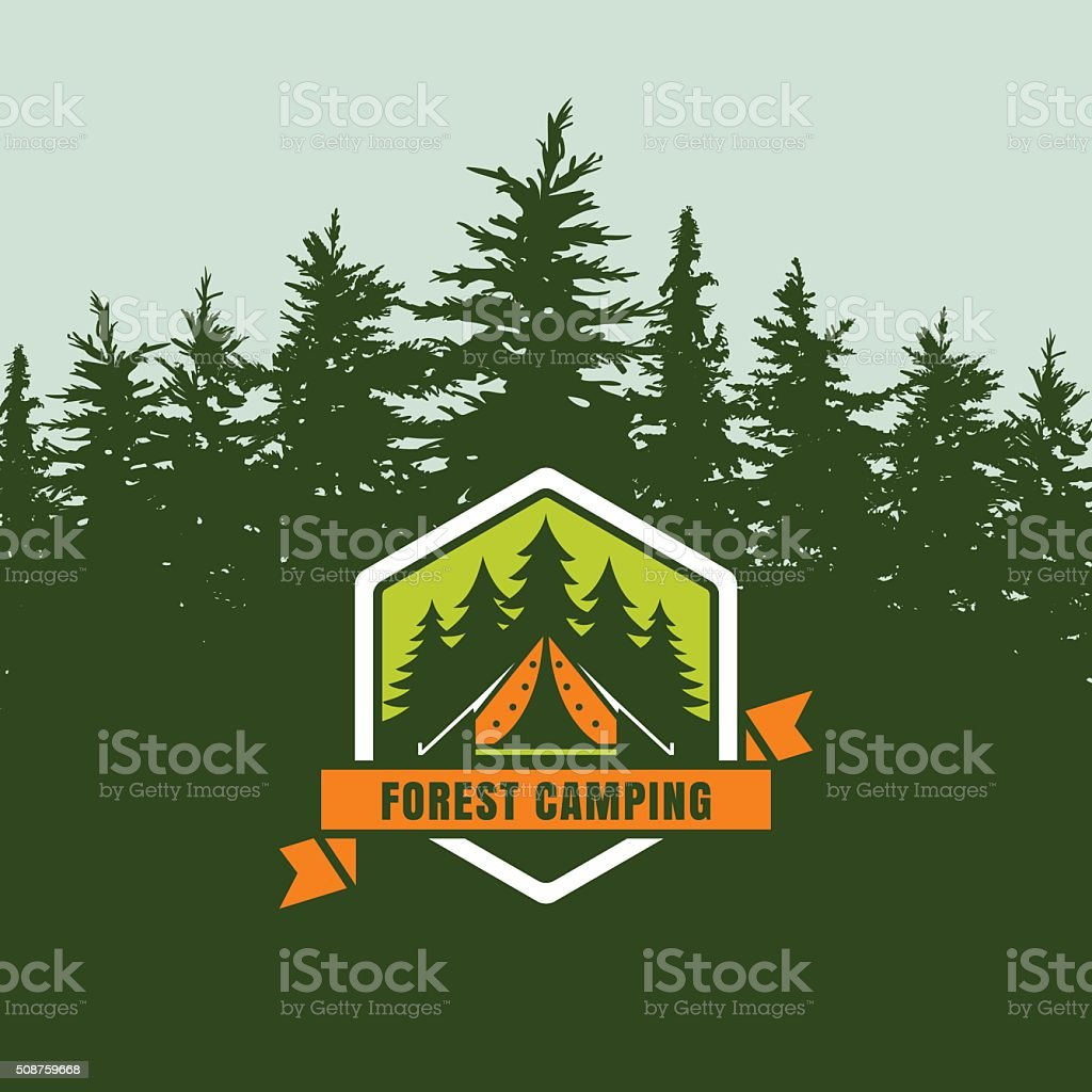 Forest camping emblem or label on background with fir forest. vector art illustration