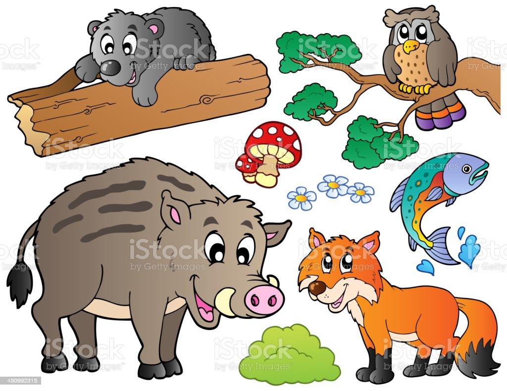 Forest cartoon animals set 1 royalty-free stock vector art