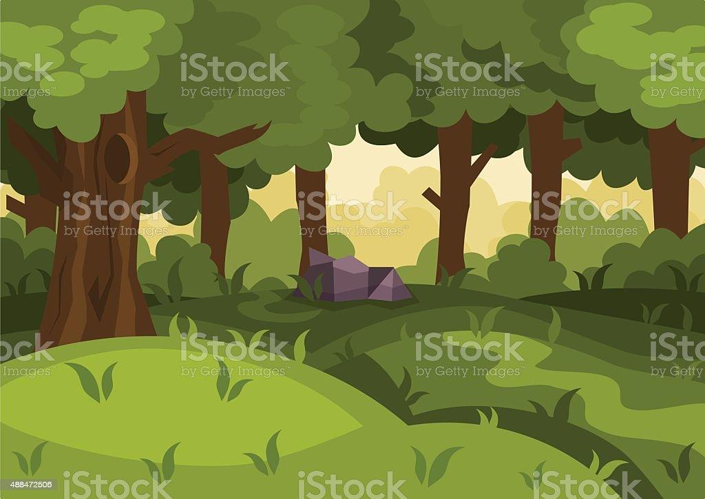 Forest cartoon background vector art illustration
