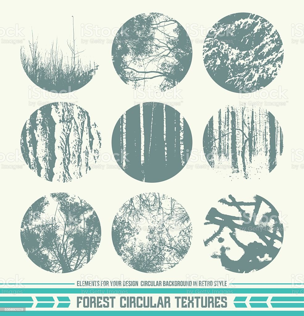 Forest circular textures vector art illustration