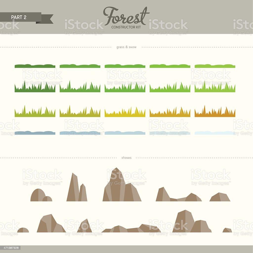 Forest constructor kit - part 2 vector art illustration