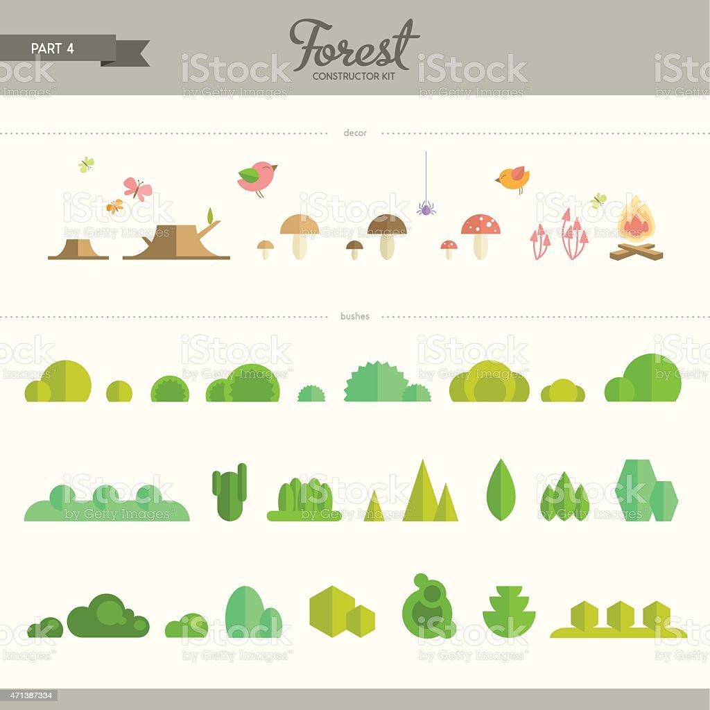 Forest constructor kit - part 4 vector art illustration