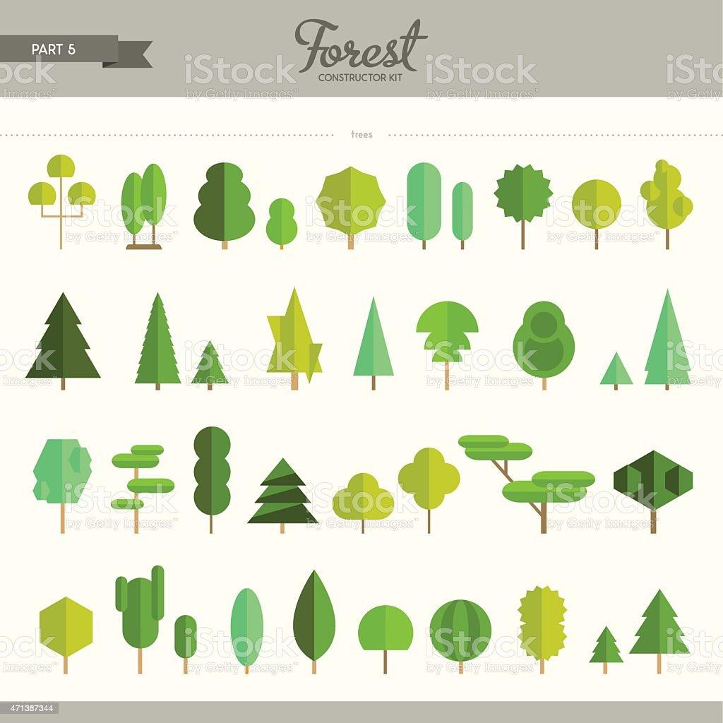 Forest constructor kit - part 5 vector art illustration