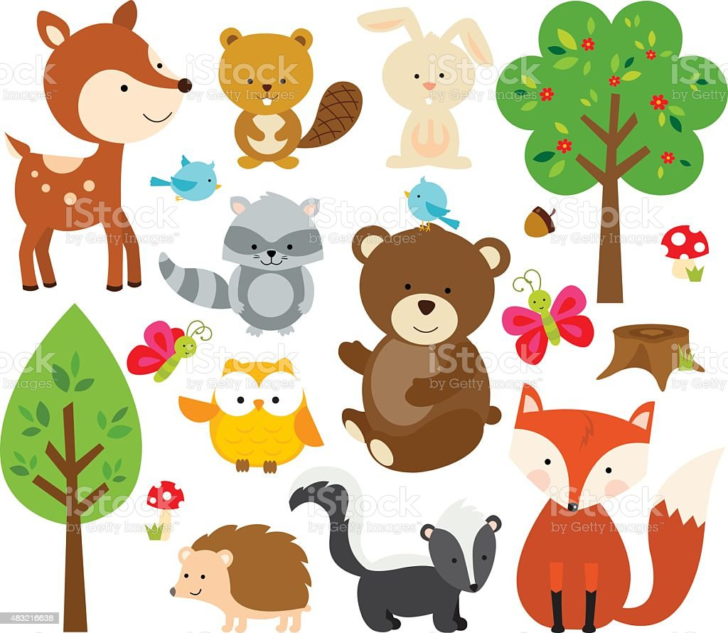 Forest Critters vector art illustration