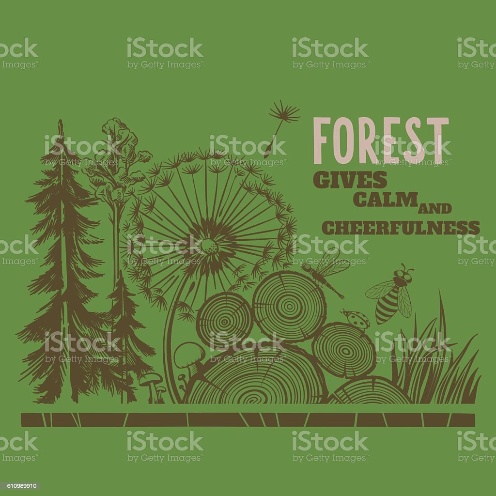 Forest Drawings Composition vector art illustration