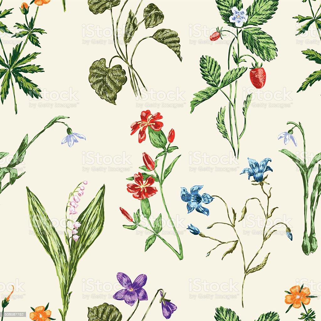forest flowers pattern vector art illustration