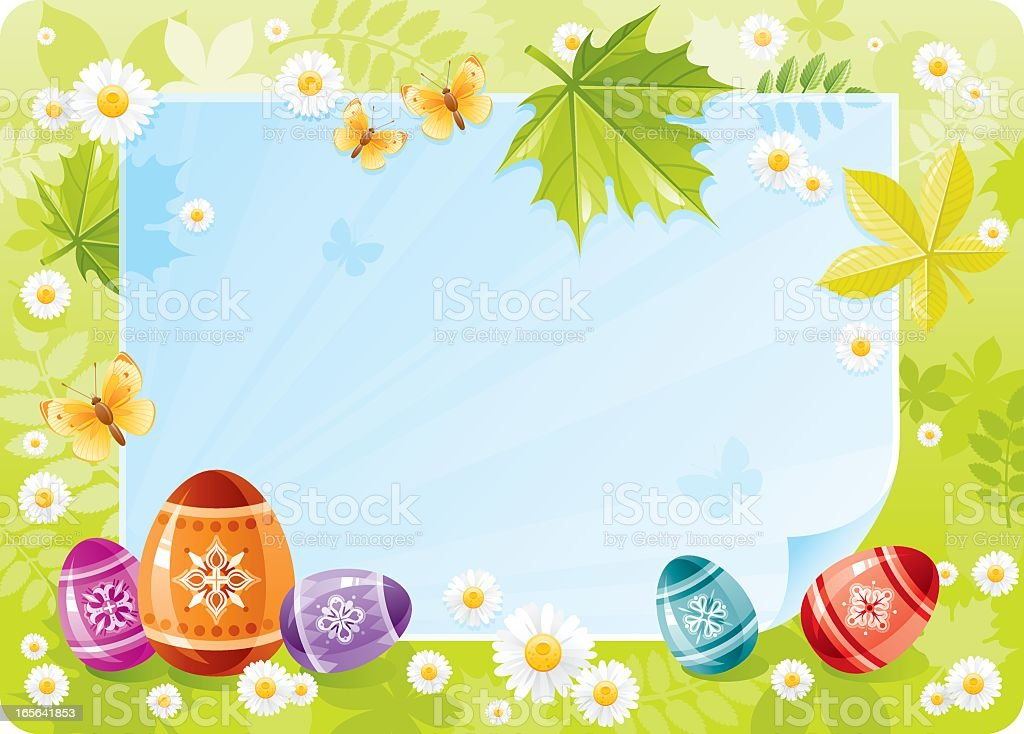Forest frame with Easter eggs royalty-free stock vector art