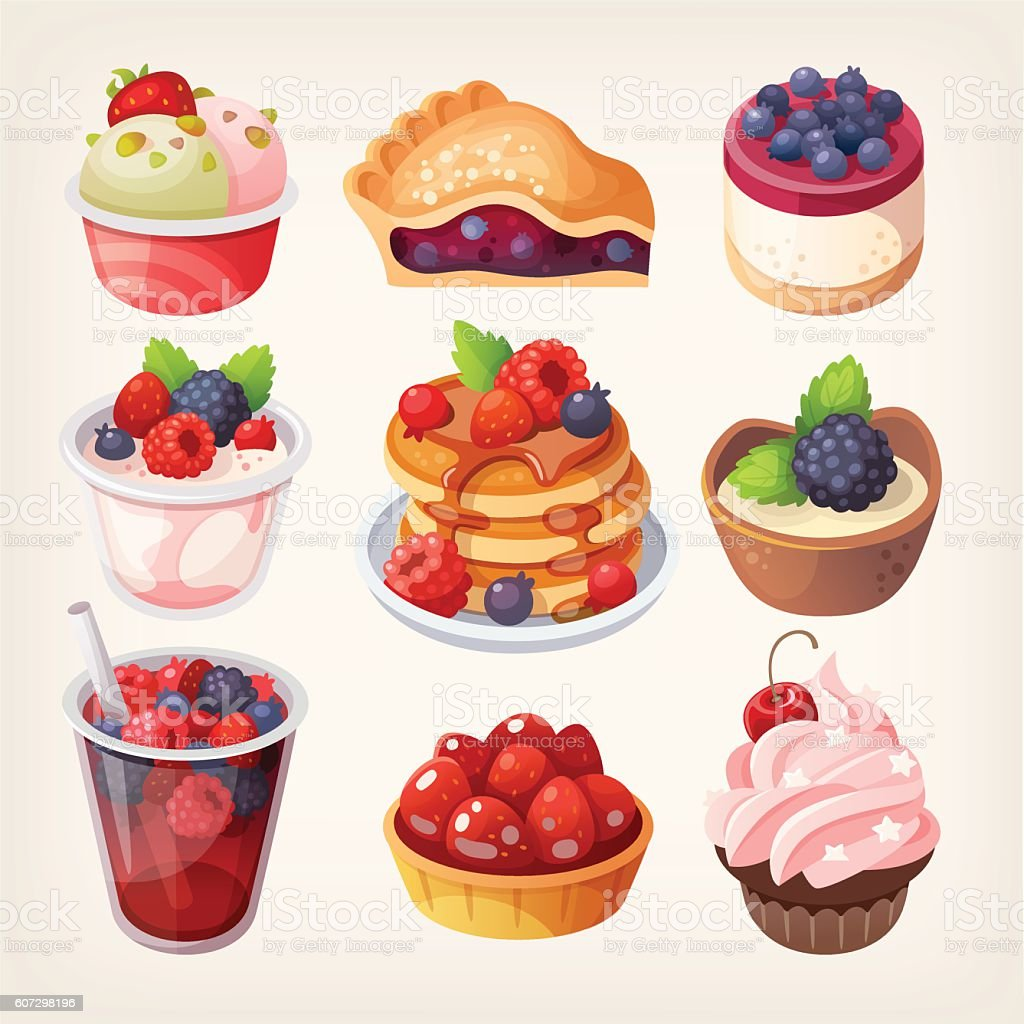 Forest fruit desserts vector art illustration