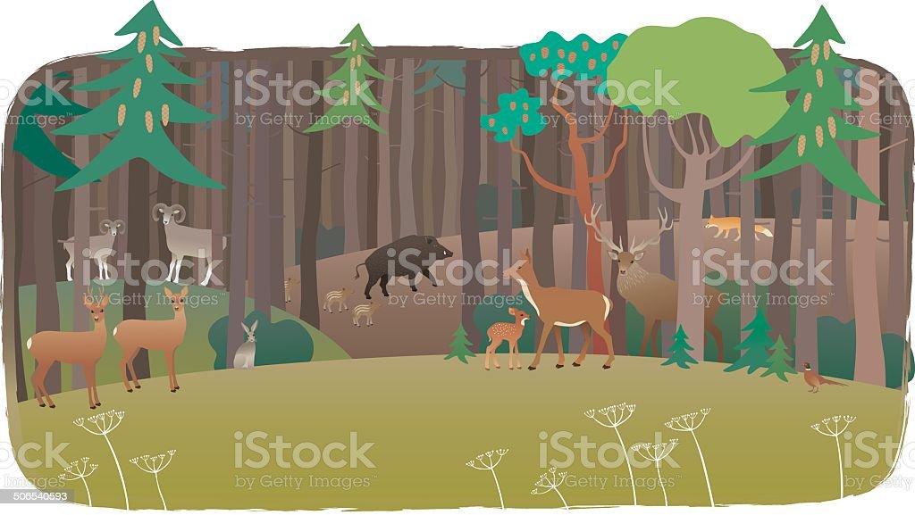 Forest full of animals vector art illustration