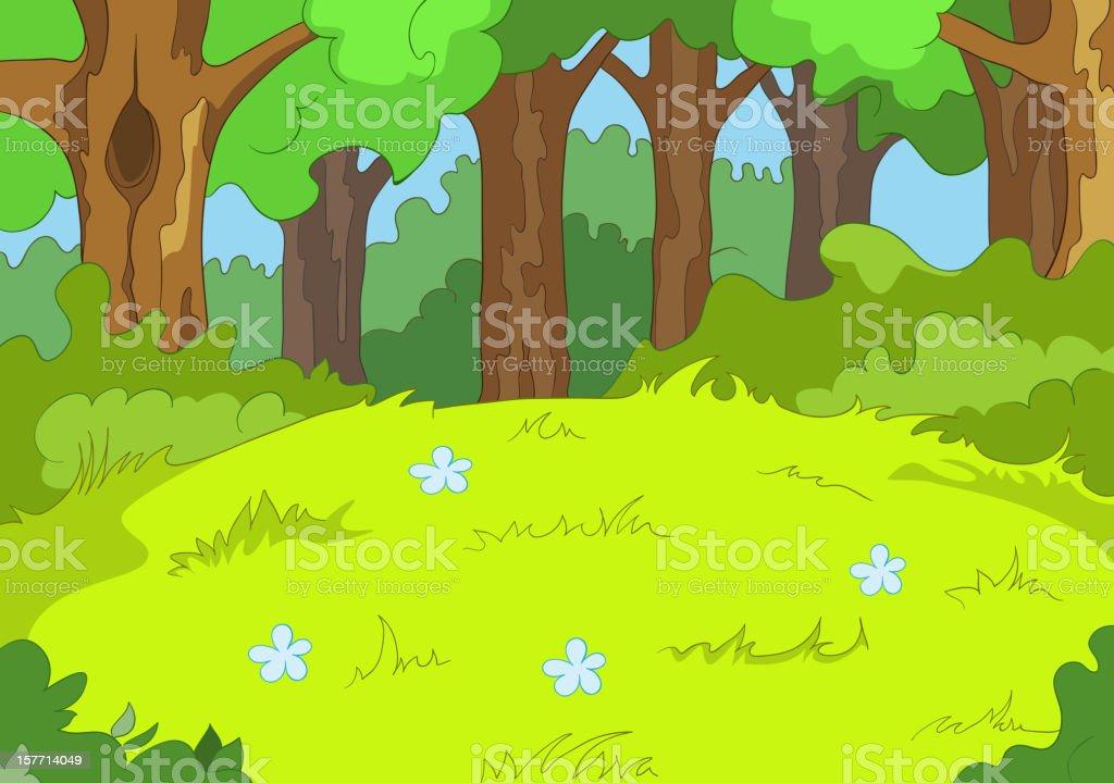 Forest Glade vector art illustration