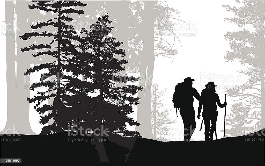 Forest Hike Vector Silhouette vector art illustration