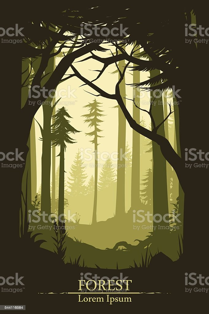 Forest illustration background vector art illustration