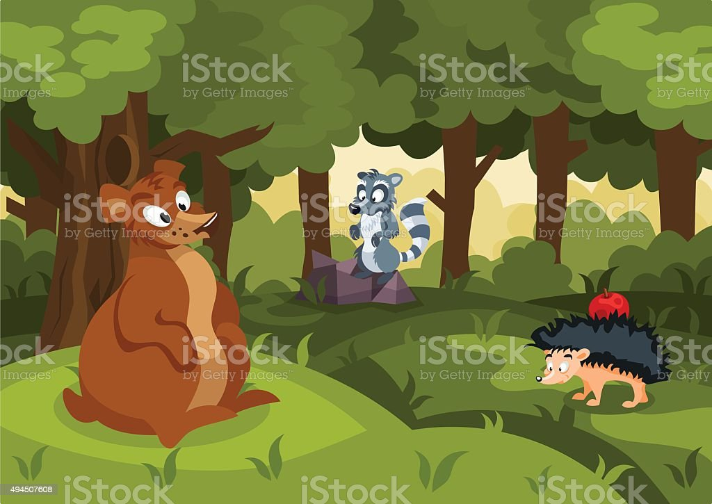 Forest illustration with a bear, hedgehog and a raccoon vector art illustration