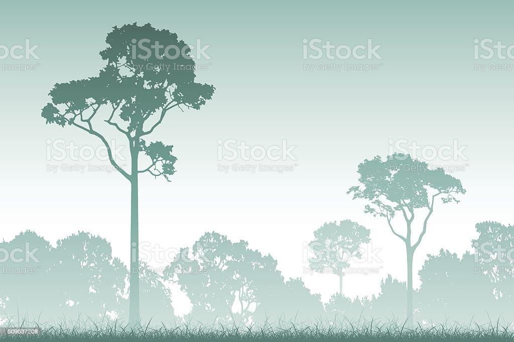 Forest Landscape vector art illustration