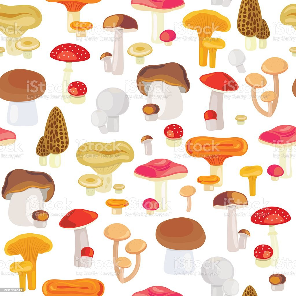Forest mushroom seamless pattern vector art illustration