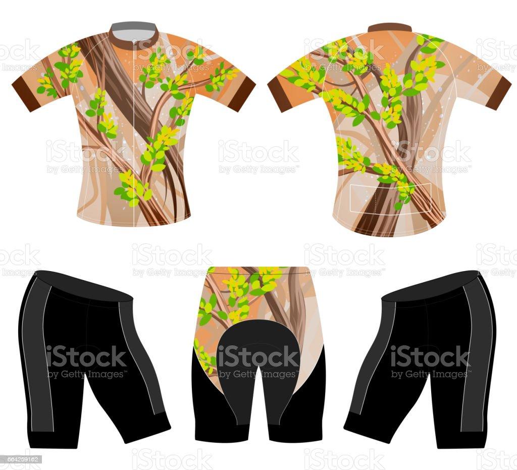 Forest on sports t-shirt vector art illustration