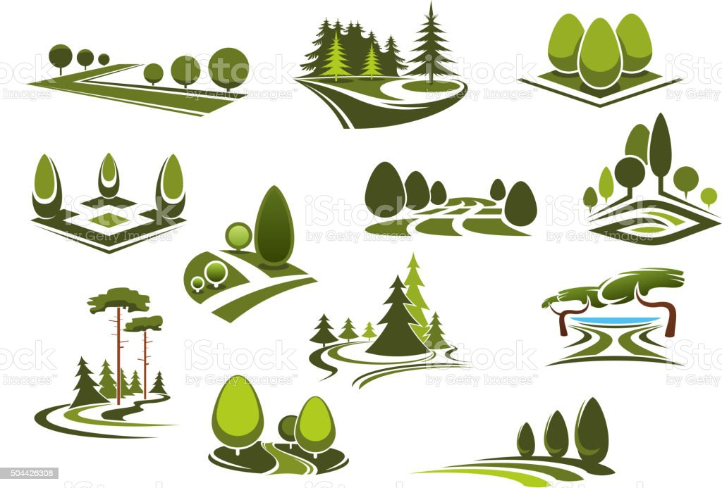 Forest, public park and garden landscapes icons vector art illustration