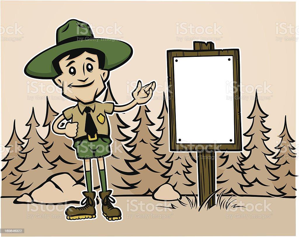 Forest Ranger Cartoon Sepia royalty-free stock vector art