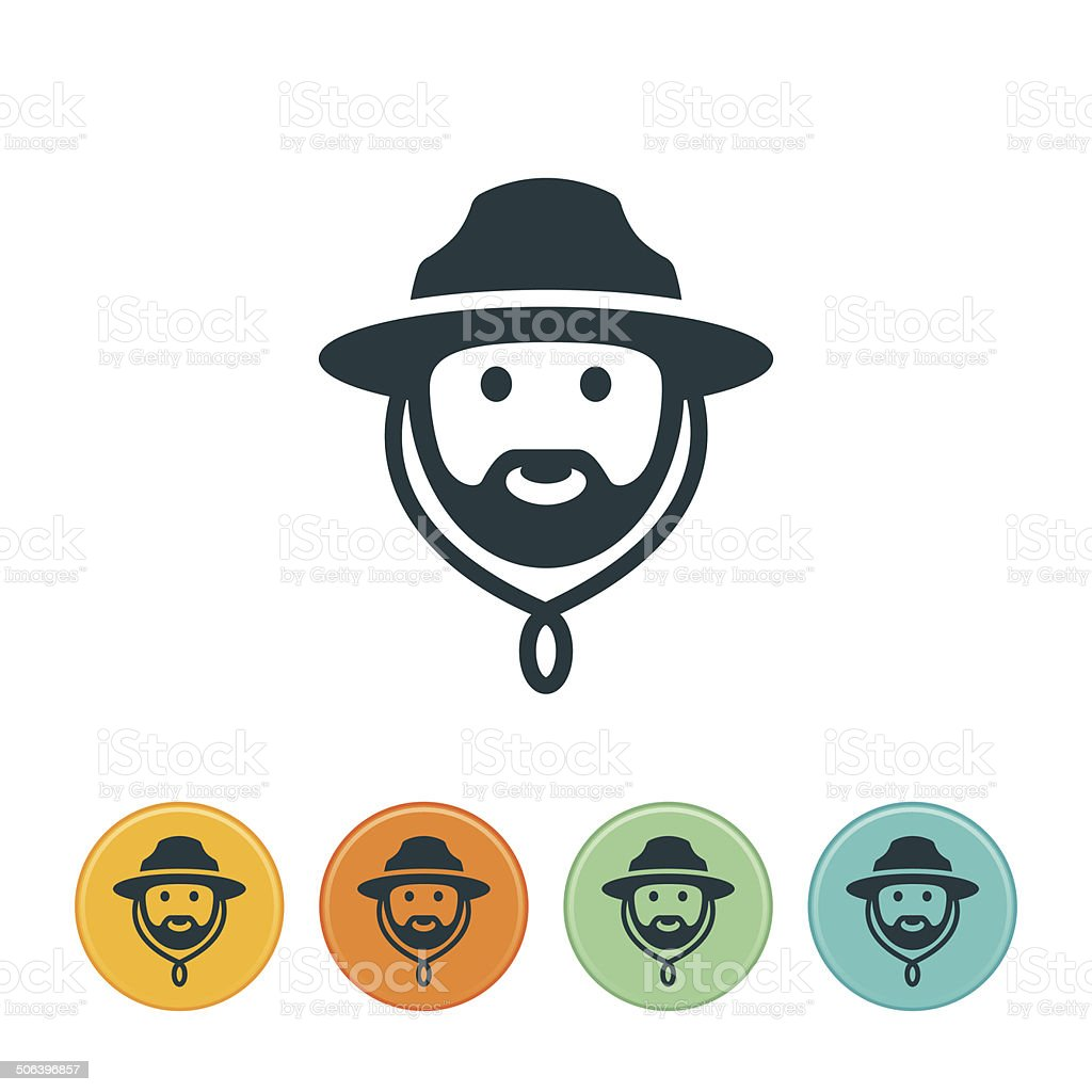 Forest Ranger Icon vector art illustration