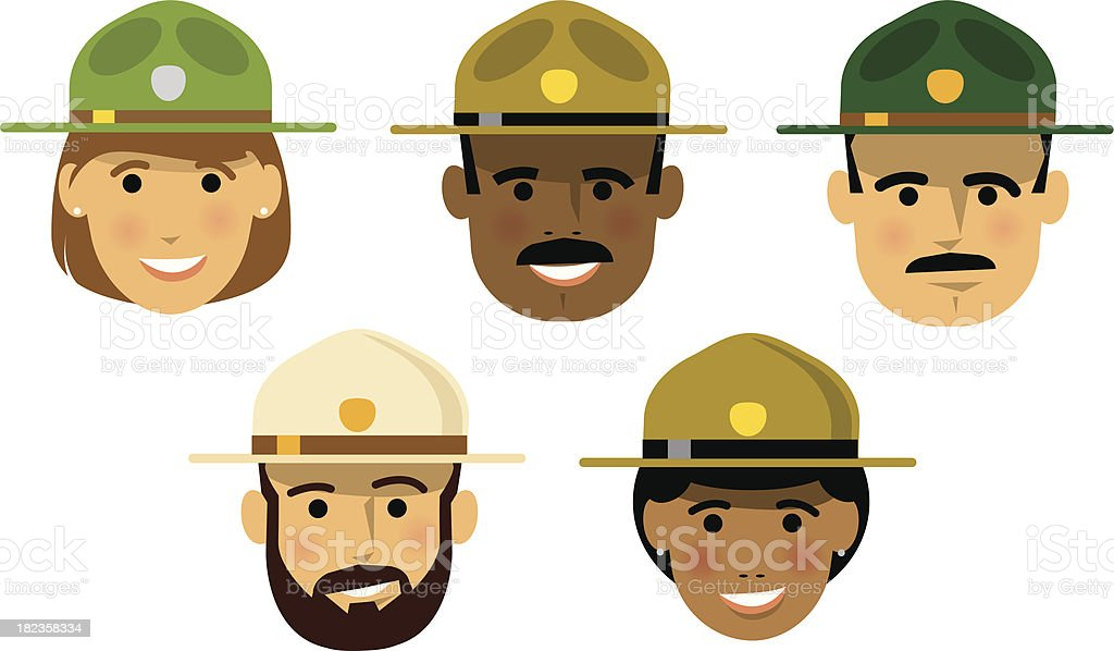 Forest Rangers vector art illustration