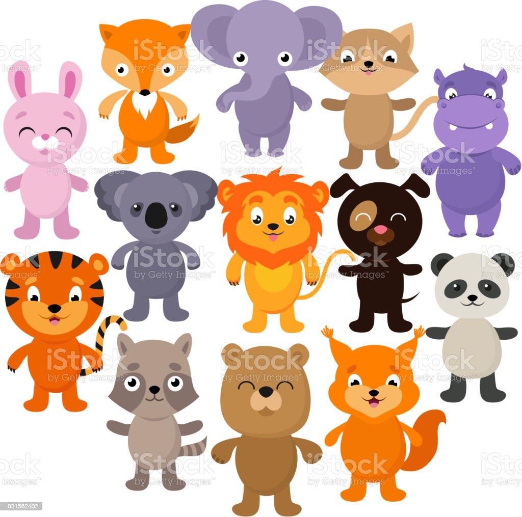 Forest, savana and jungle baby animals. Cartoon vector character set vector art illustration