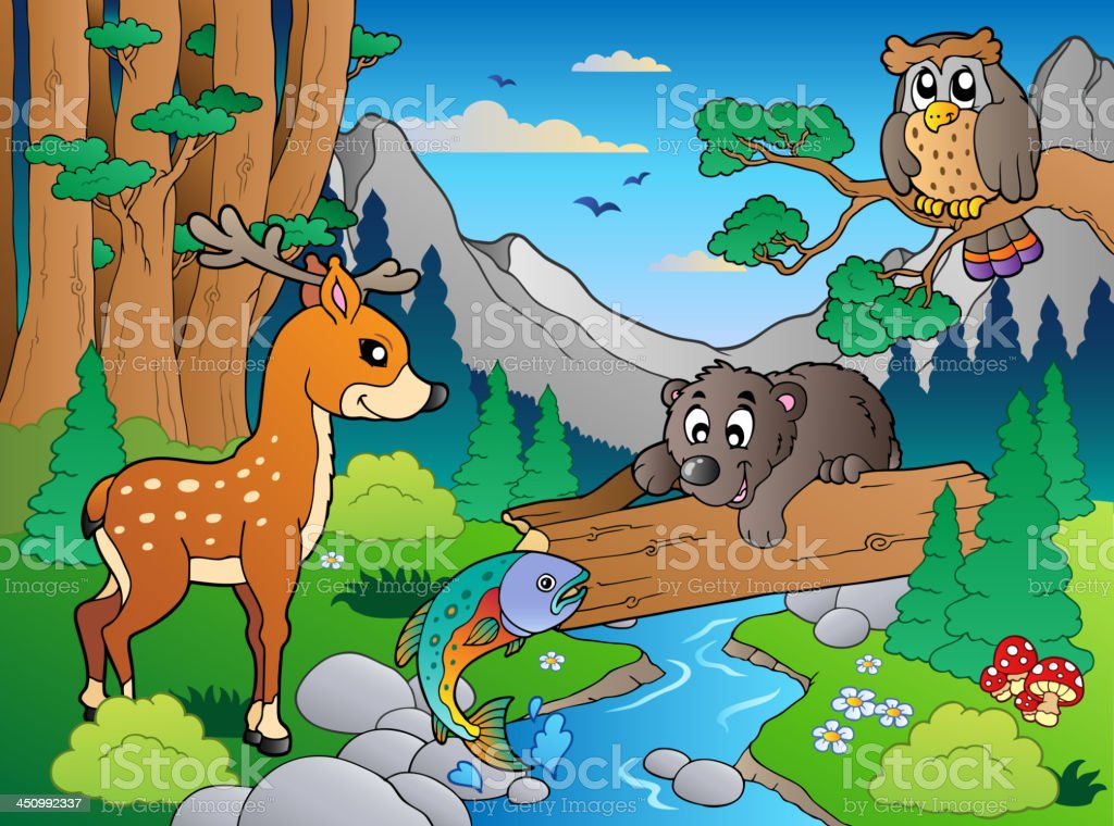 Forest scene with various animals 1 royalty-free stock vector art