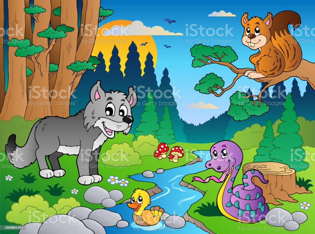 Forest scene with various animals 5 royalty-free stock vector art