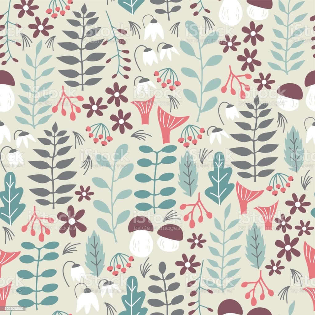Forest Seamless Pattern. Seamless Pattern for Fabric, Paper and Other Printing. vector art illustration