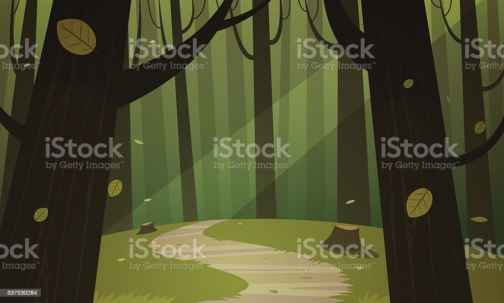 Forest Trail vector art illustration