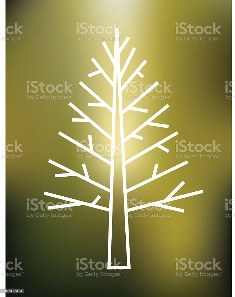 Forest tree thin line icon isolated on gree blured background royalty-free stock vector art