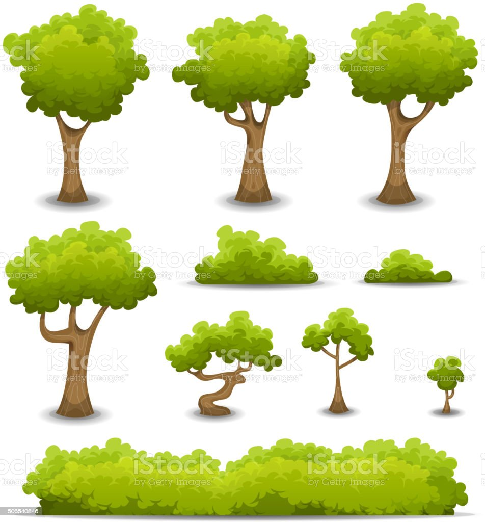 Forest Trees, Hedges And Bush Set vector art illustration