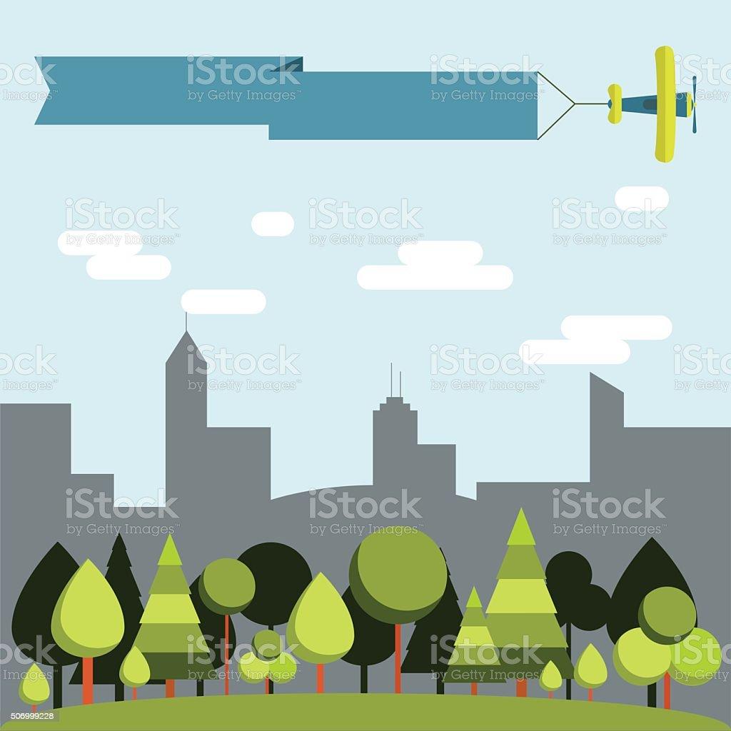 Forest vs city vector art illustration