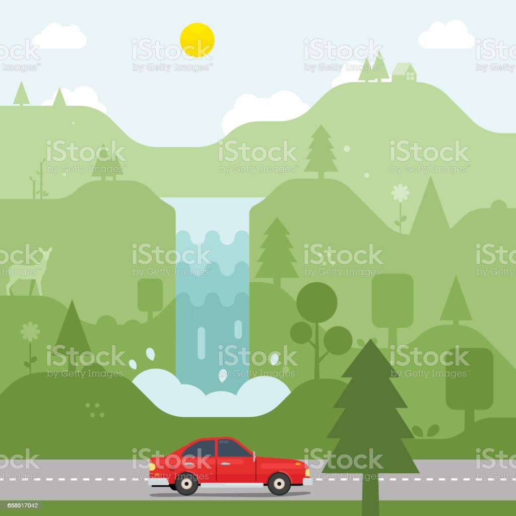 Forest with Waterfall and road vector art illustration